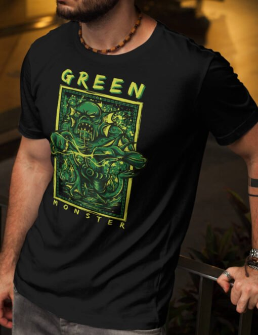 Man black Halloween Tee with a green monster