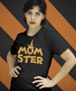 woman black tee featuring a graphical text : Momster