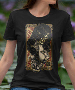 Woman black witch tee featuring a demon succubus