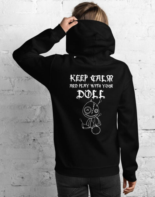 woman black Hoodie featuring a Voodoo doll and a text keep calm and play with your doll