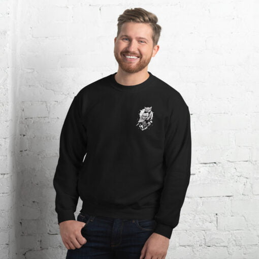 man sweatshirt featuring an owl and an all see eye