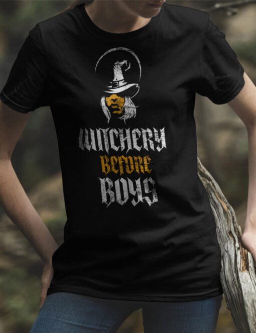 witch T Shirt with a Text: Witchery Before Boys