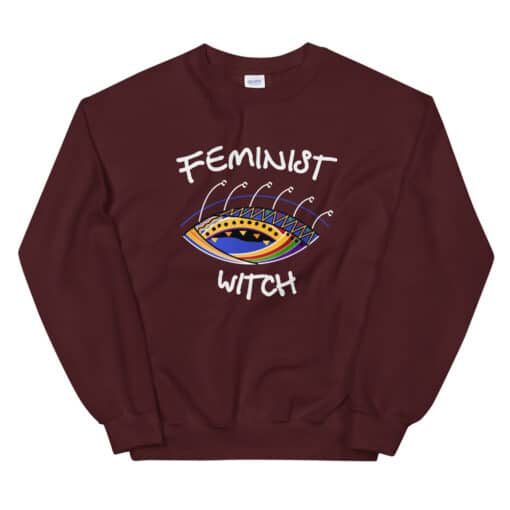 Feminist Witch Sweater maroon