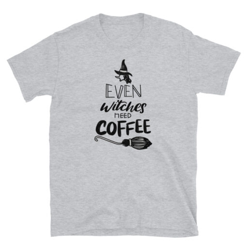 Even Witches Need Coffee Women T-Shirt Grey Heather